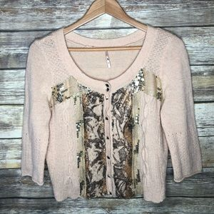 Free people wool angora sequin cardigan sweater M